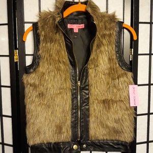 Betsy Johnson girls faux fur leather Vest